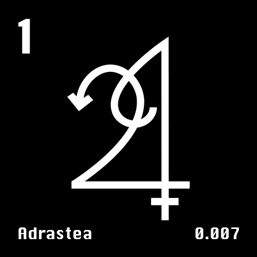 Astronomical Symbol of Jupiter's moon Adrastea