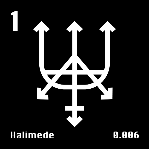 Astronomical Symbol of Neptune's moon Halimede