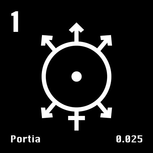 Astronomical Symbol of Uranus' moon Portia